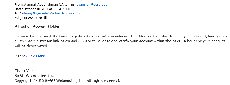 Fraudulent Email Example
