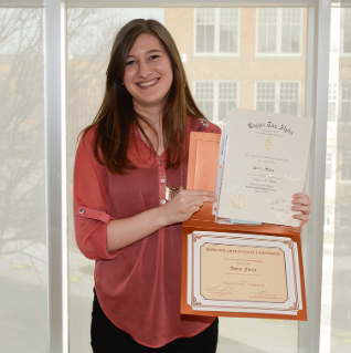 Annie Furia, winner of the sequence award for Multiplatform Journalism. Annie was also inducted into the Kappa Tau Alpha honorary society.