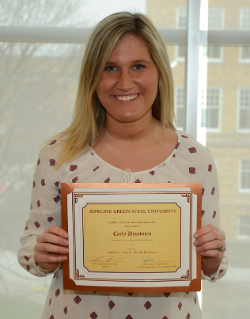 Carly DiAntonio, winner of the sequence award for Public Relations. Sequence awards represent an outstanding body of class and student media work throughout four years.