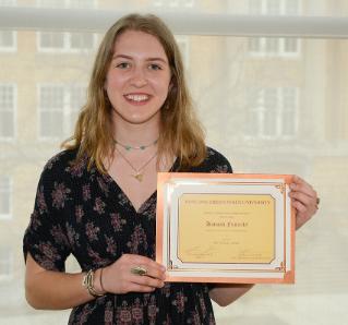 Hannah Finnerty won the Bev Murray Scholarship, named for a former department secretary.
