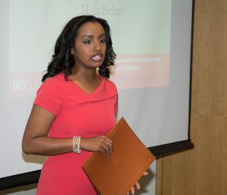 Maia Belay, 2011 Broadcast Journalism graduate, received the Currier Young Professional Award. Maia is currently a reporter at Fox 8 News in Cleveland.
