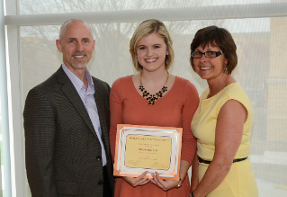 Amy Steigerwald, winner of the Currier Rising Senior Scholarship, with her parents. Amy won the Currier Rising Junior Scholarship last year.