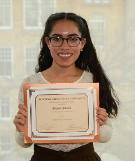 Stepha Poulin, winner of the inaugural Currier Journalism Success Scholarship.