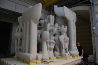 Large-scale sculpture, loaded into kiln for bisque firing.