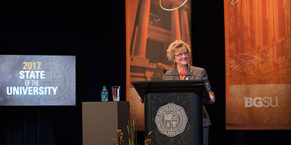 President Mazey speaking at State of the University