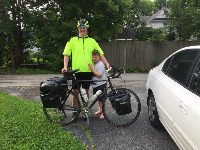 Dr. Neil Baird and his son as Neil prepares for Ride2CW