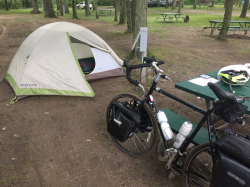 Neil's tent and bike along the Ride2CW path