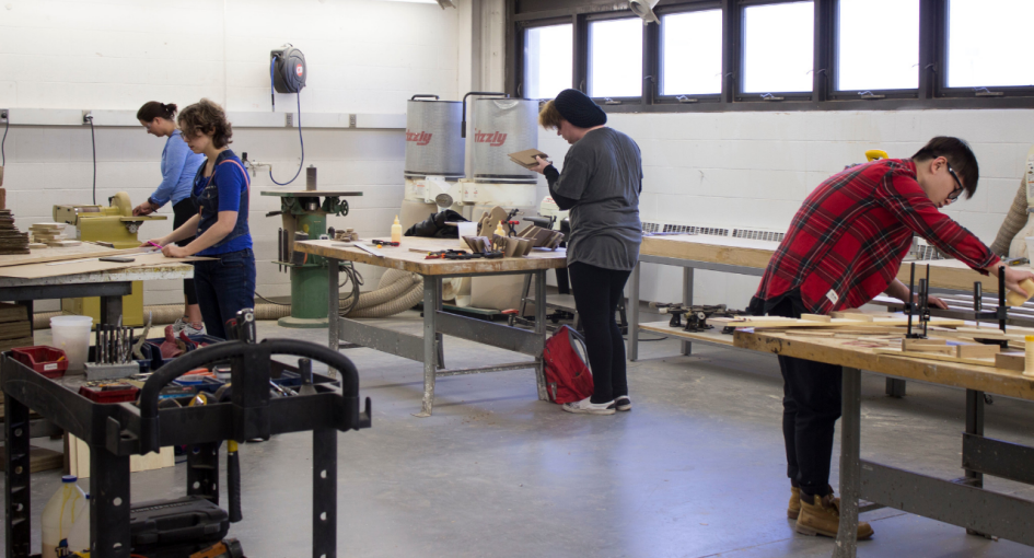 Students Working in the Woodshop
