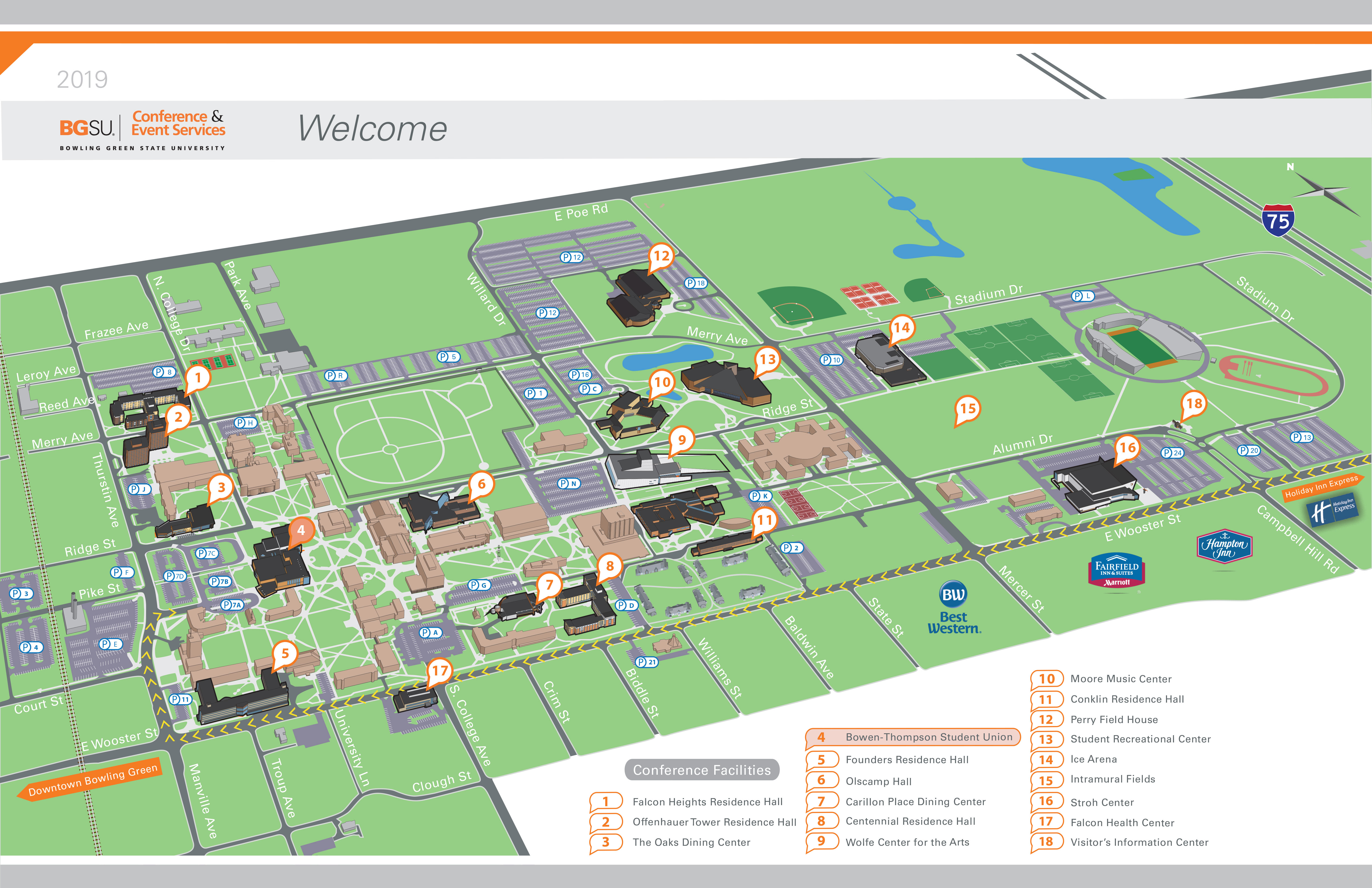 A map of Bowling Green State University. The Bowen-Thompson Student Union is highlighted.