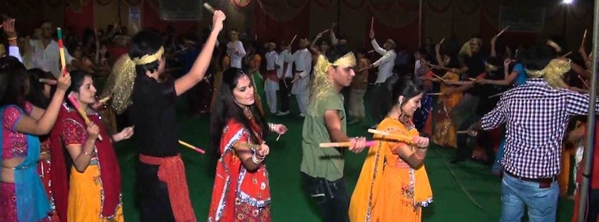 Soumya and her friends dancing in the Nivratri festival in honor of the Goddess Durga
