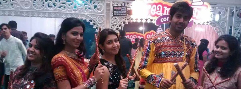 Soumya and her friends celebrating Diwali Mela