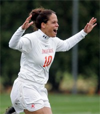Julie Trundle celebrates her winning penalty kick