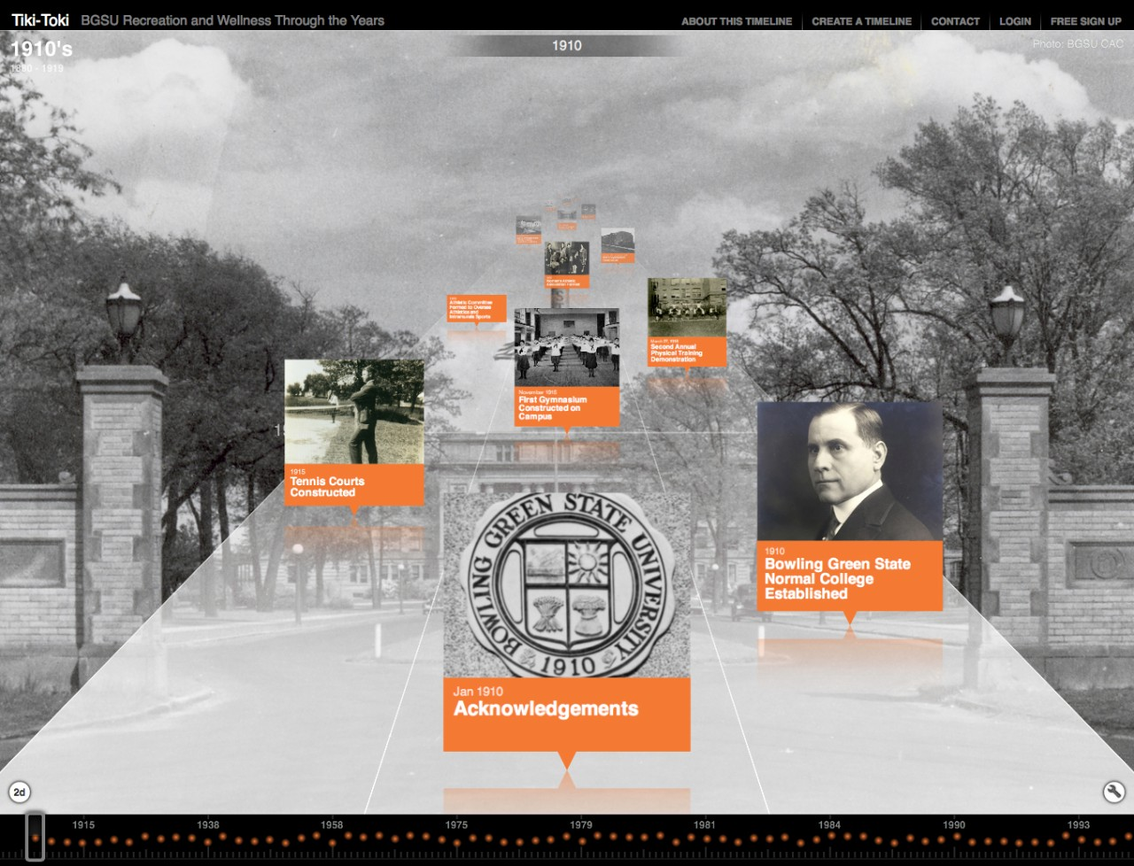 BGSU Recreation and Wellness Through the Years digital timeline