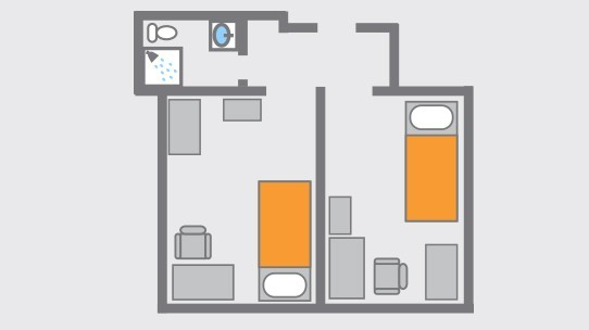 In-room Bathroom Layout