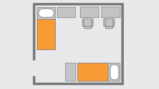 Drawing of the Double Room Layout