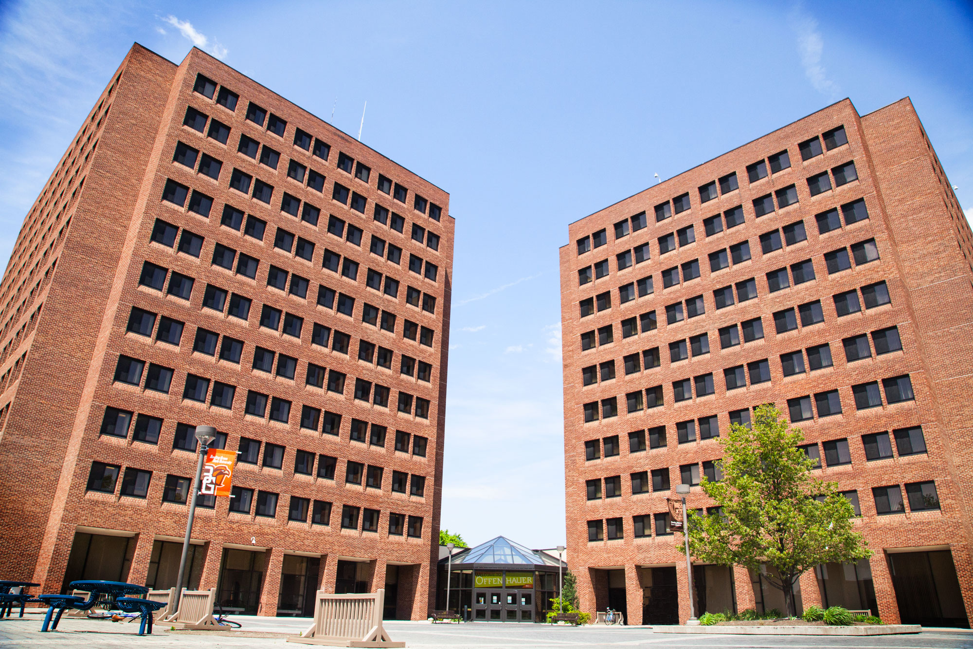 Exterior Image of Offenhauer Towers on a sunny day.
