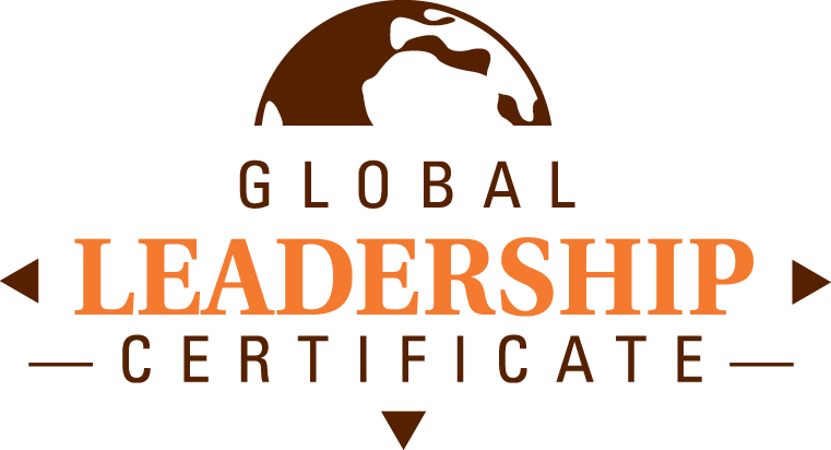 Brown globe with Global Leadership Certificate text below