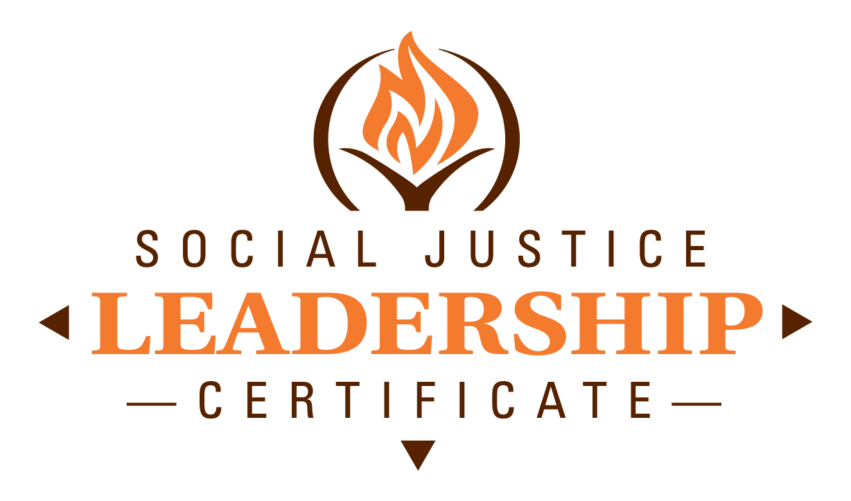 Orange and brown torch with Social Justice Leadership text below
