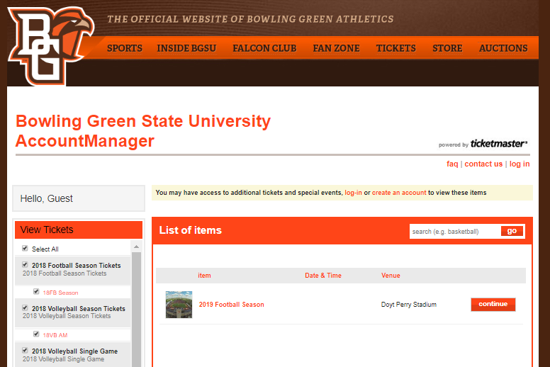 Image of BGSU old ticketing system interface