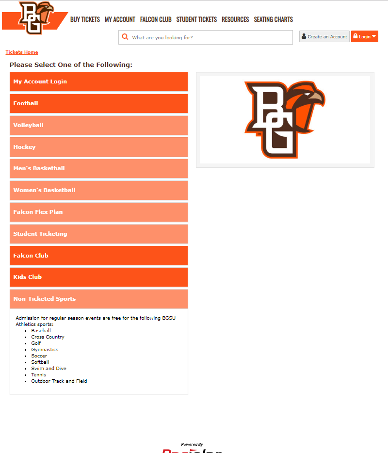 Image of BGSU's new ticketing interface by Paciolan