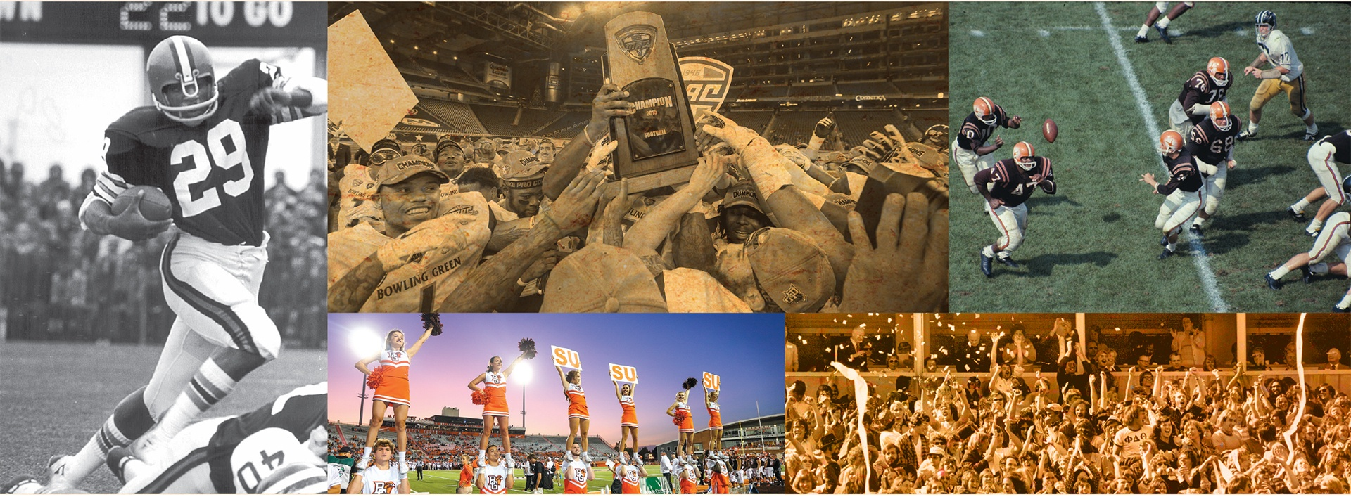 Collage of football photos including cheerleaders holding trophy and action photos