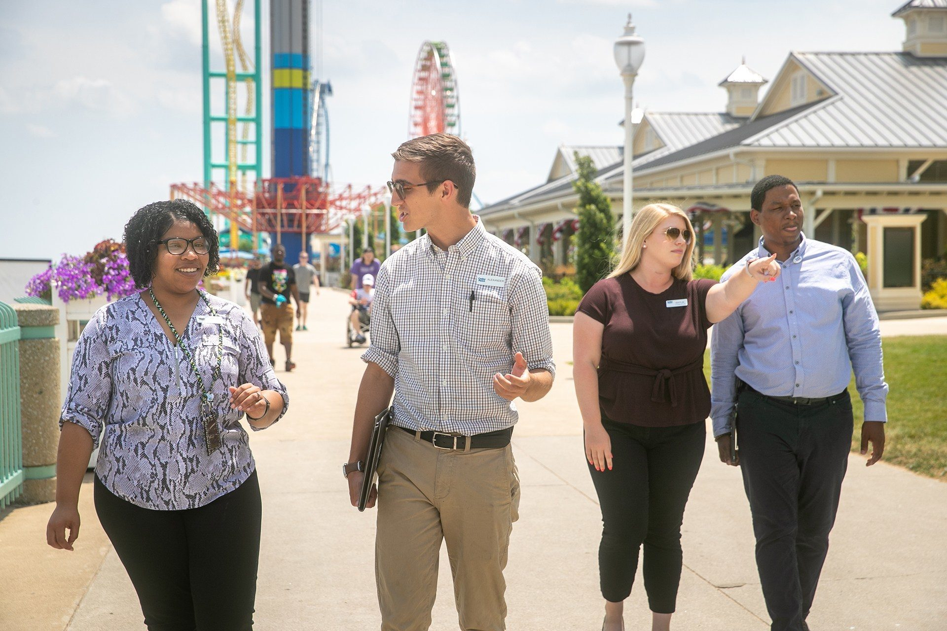 BGSU resort and attractions management students learning on the promenade at Cedar Point theme park in Sandusky, Ohio.