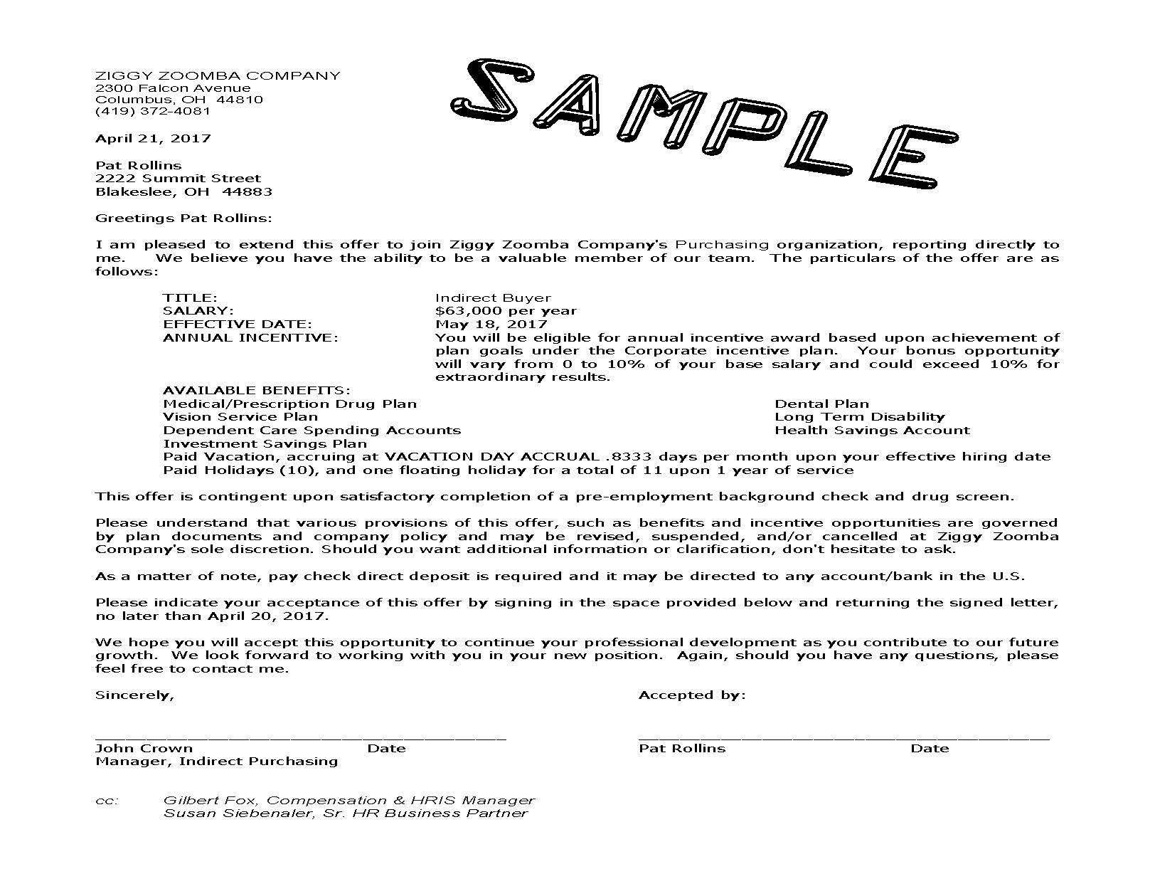 91 Agreement Letter For Job Offer