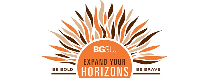 Image of a brown and orange sun with the words Be Bold, Be Brave.  Expand Your Horizons Fair.  Also features the text Community Engagement, Education Abroad, Internship and Co-Ops, Learning Communities, Experiential Learning, Volunteerism, and Undergraduate Research & Scholarship.