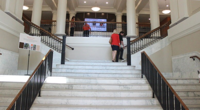 This is a photo of the main staircase in University Hall