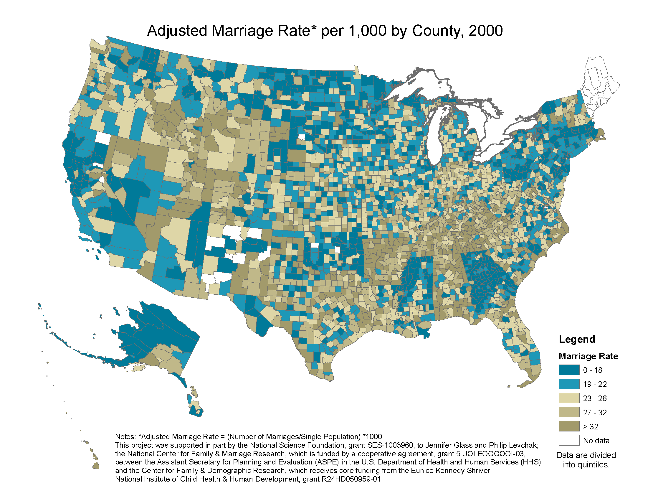 county level marriage divorce data 2000
