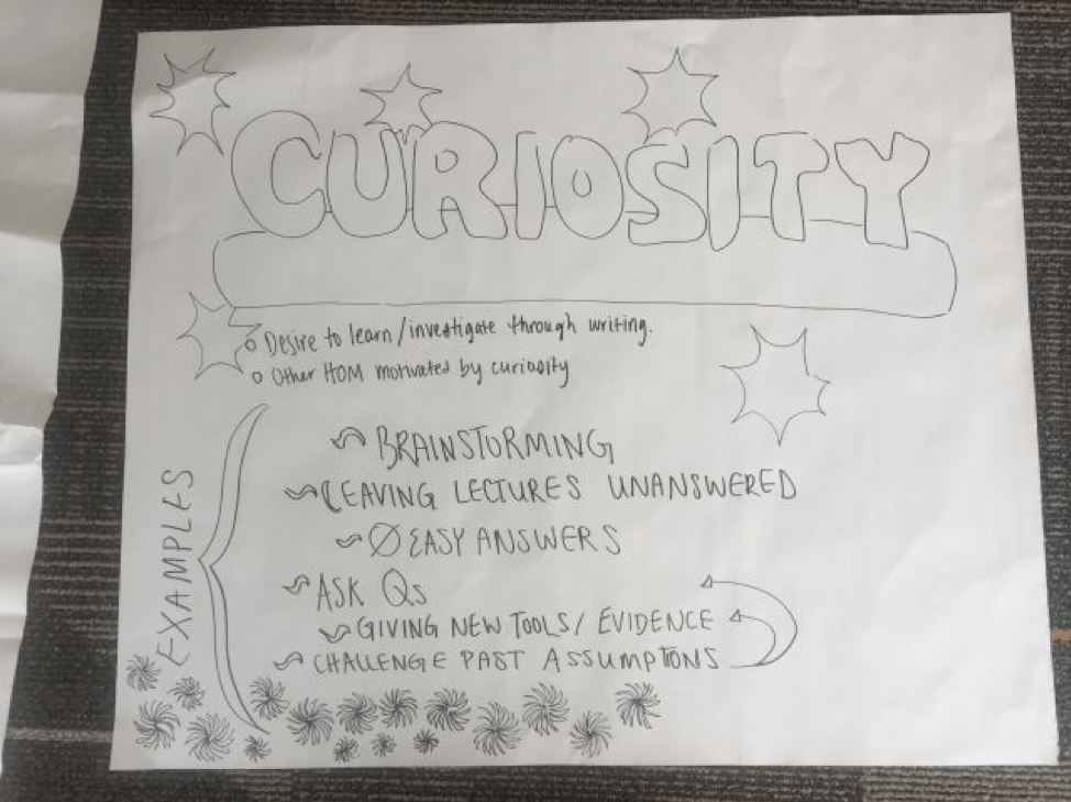 A creatively drawn document exploring the habit of mind curiosity