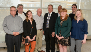 Members of The BG News Alumni Board. From left: Bill Estep, Don Lee, Carrie Whitacre, Harold Brown, Bob Bortel, Jared Wadley, Holly Shively, Max Filby and Danae King.