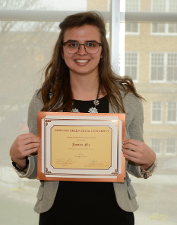 Jessica Fix, winner of the Waugh Trophy. The Waugh Trophy is the highest honor awarded by the Department of Journalism and Public Relations.