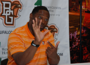 Coach Babers responds to a question asked during the mock press conference.