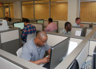 Players work on their stories in one of BGSU's computer labs.