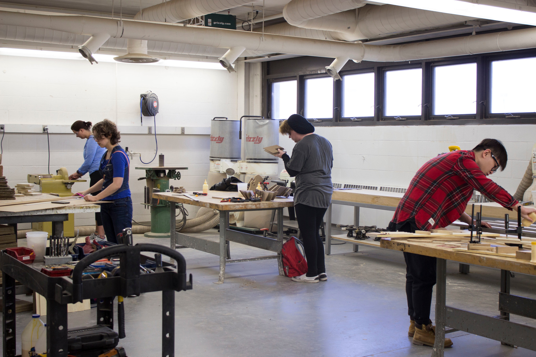 Students Working in the Wood shop