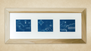 Hotel Royal Blueprint Triptych