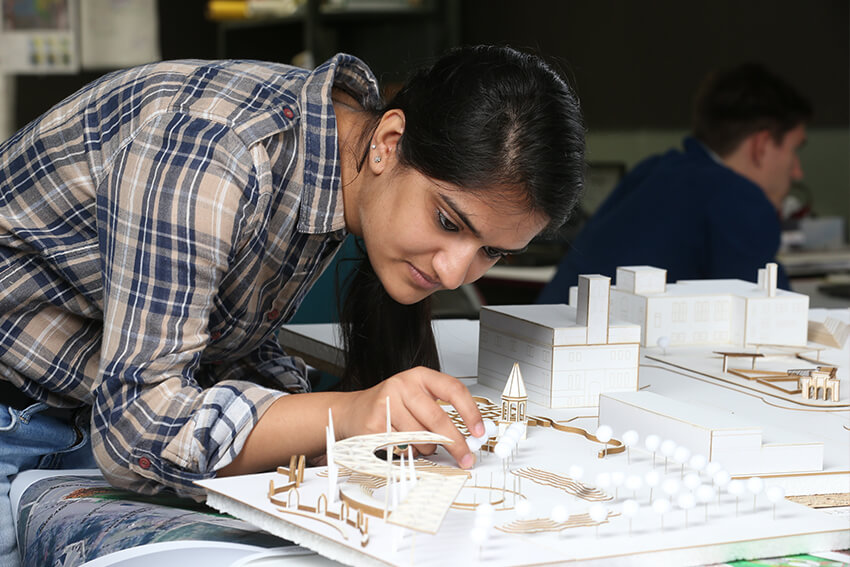 photo of student working in the Architecture Design Studio