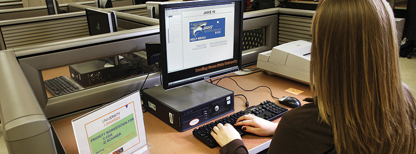 Person using a computer with assistive technology