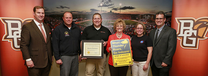 NWS Cleveland recognizes BGSU for the implementation of their lightning safety plan