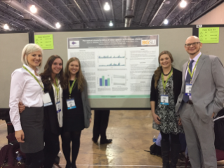 Emily Otten, Kendra McCann, Sadie Sneider, Kendra Koester, and Dr. Whitfield at ASHA 2016