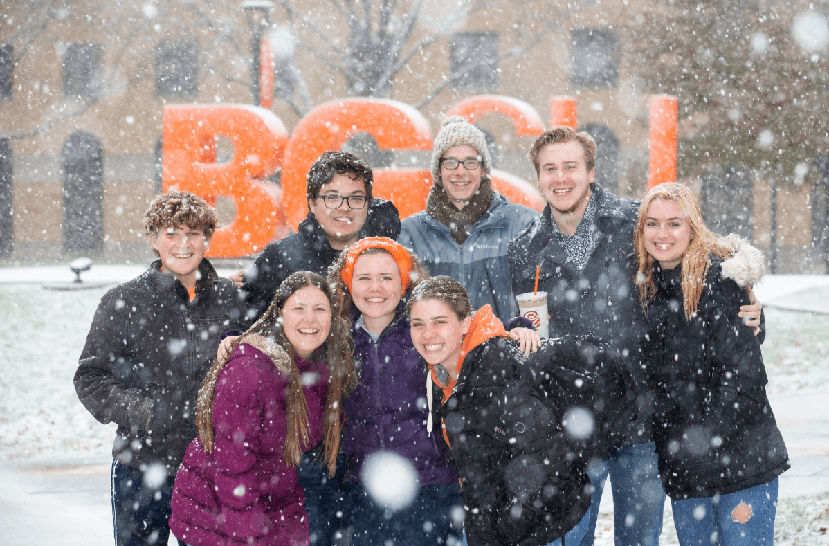 Honors College students in the snow