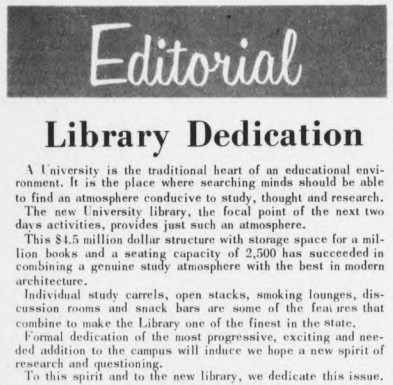 Editorial Library Dedication