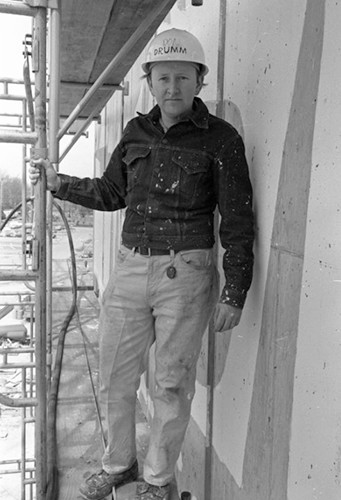 Photo of Donald Drumm during construction