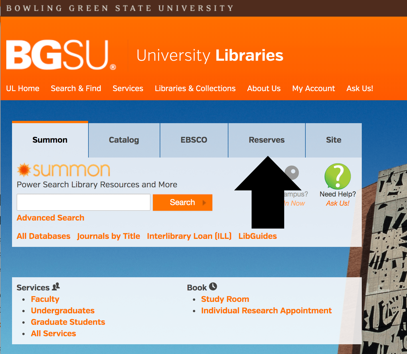 Arrow pointing to the reserves tab on the BGSU Libraries homepage