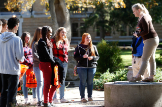 Prospective BGSU students learn about the University seal.
