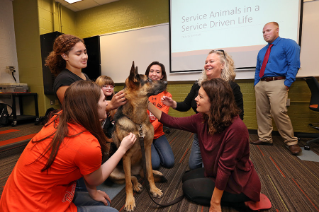"Margaret Weinberger, a lecturer in sociology, tapped into her passion for animals for her seminar ""Animals in Human Lives"", during her BGSU 1910 First Year Seminar class."