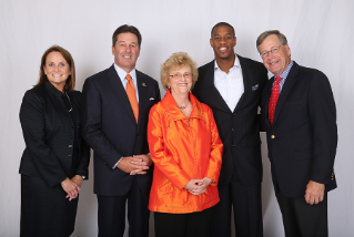 The 2015 Academy of Distinguished Alumni. Left to right is Pamela Beall, director and president of MPLX LP, John Mitchell, global practice managing partner of the health care and life sciences practice at Heidrick and Struggles, President Mary Ellen Mazey, Antonio Daniels, NBA basketball star and third-highest draft pick in Falcon basketball history, and Peter Englehart, an entrepreneur, investor and founder of Outdoor Life Network.