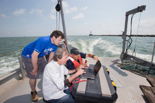 Drs. Mike McKay and George Bullerjahn, biology, are leading a team studying harmful algal blooms in Sandusky Bay. It's part of an overall $2 million Lake Erie water quality initiative by the Ohio Board of Regents.