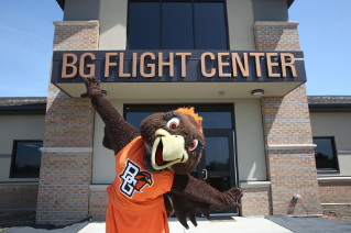 Frieda Falcon soars at  the opening of the new Bowling Green Flight Center.